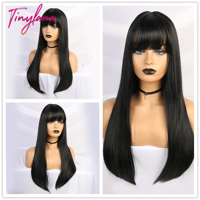 TINY LANA Black Long Straight Wig with Bangs Hair synthetic wigs for black women Heat Resistant Fiber Cosplay Costume Wig