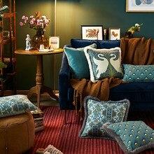 Funda de cojín de doxdeco funda de almohada decorativa Vintage de lujo Cisne Flora sofá silla ropa de cama Coussin decoración cálida