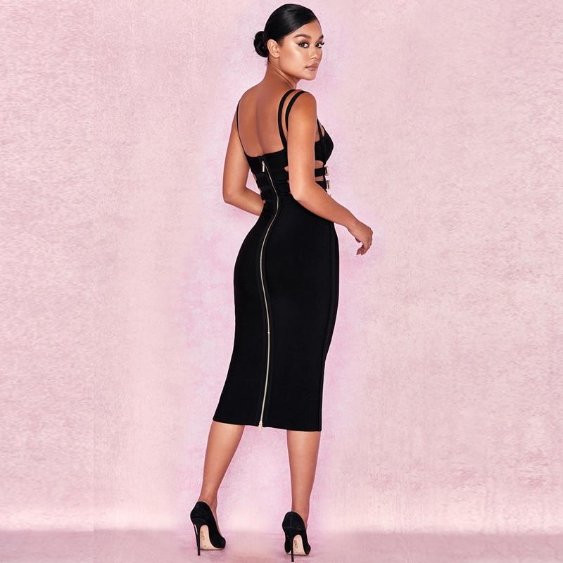 Robe d'été pour femmes 2019 chic métal ceinture spaghetti sangle noir rouge moulante robe de pansement célébrité fête vestidos de verano - 3