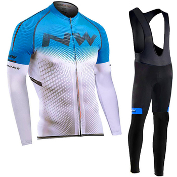Autumn 2020 NW Team Ropa Cycling Clothes Men Long Sleeve Jersey Suit Outdoor Riding Bike MTB Clothing Bib Pants Set