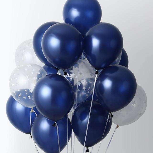 15pcs 12inch Luminous Blue Latex Balloons with Clear Transparent Star balloons for Wedding Decorations Birthday Party Globos 1