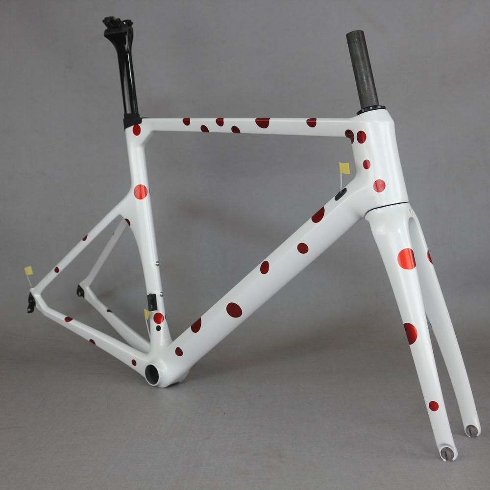 2019 new China <font><b>Oem</b></font> design White dot carbon road <font><b>bike</b></font> frame tt-x1 image