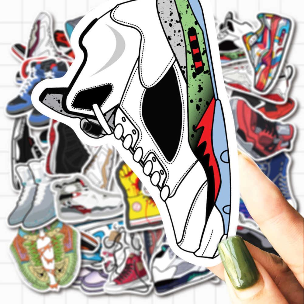 VANMAXX 50 adet ünlü marka klasik ayakkabı şekli kalıp kesim çıkartmalar için su geçirmez PVC çıkartması Laptop kask bisiklet telefon kılıfı