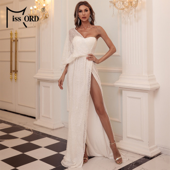 Missord Sexy One Shoulder Sequin Evening Party Dress Floor Length Maxi Dress Solid Color High Split Backless Women Dress M0843 missord 2020 women sexy deep v neck backless sequin dress women sleeveless maxi dress bodycon evening party dress vestido m0449