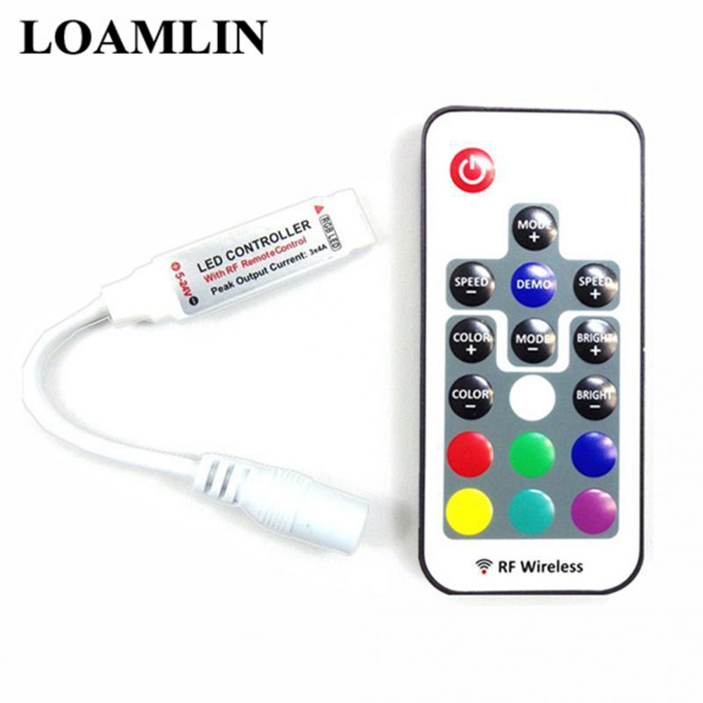 17-Key Mini RF Wireless LED Dimming Remote Control For 5050/3528/5730/5630/3014 RGB Color Strips(China)