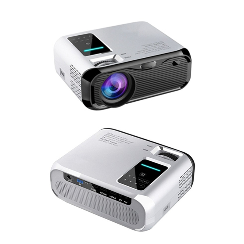 E500 Projector 1280P HD Mini Portable Screen Less Wall Projection 2 Speakers for the Home Film Office