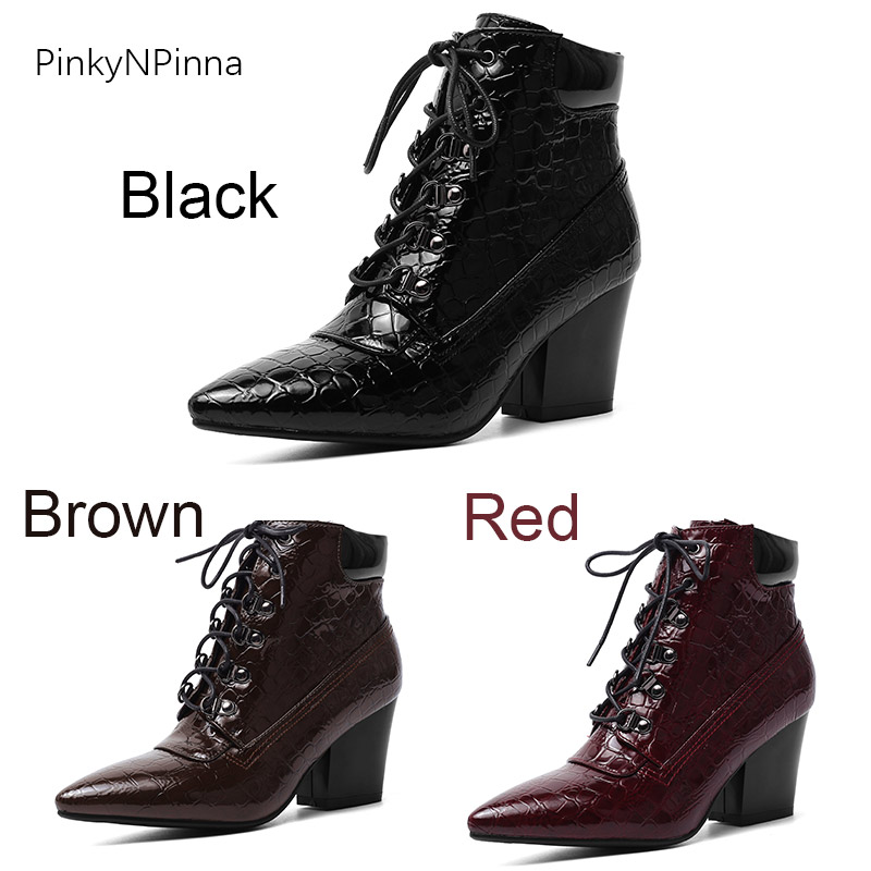 women winter fashion ankle boots patent leather alligator pattern chunk high heels sexy pointed toe chic lady booties warm plush in Ankle Boots from Shoes