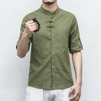 Tradicitional Chinese Clothing for Men Vintage Madarin Collar Kungfu Clothing Solid Half Sleeve Blouse Hanfu Tang Suit Linen Top tanie i dobre opinie Pościel Suknem Men Chinese Top