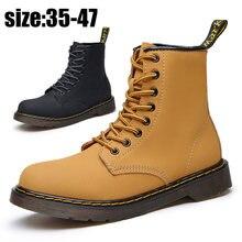 Кожаные ботинки мартинсы для мужчин и женщин повседневные коричневые