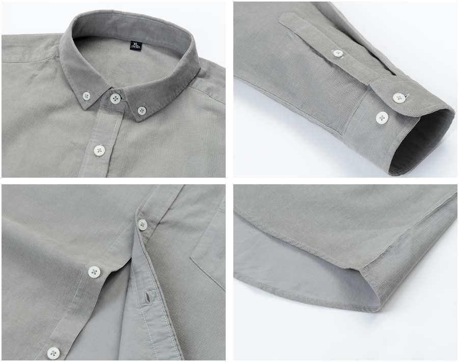 H9202c4d65cc7442faa5bf06798f4d795s Casual Mens Corduroy Shirt Pure Cotton Long Sleeve Brown Thick Winter XXL Regular Fit New Model Male Button Down Shirts