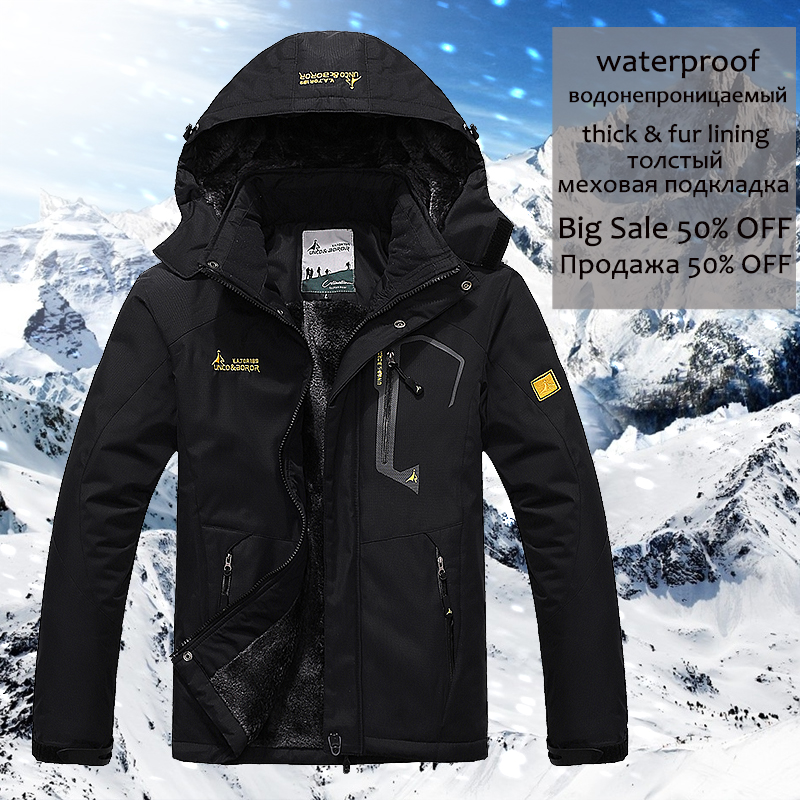 Winter Jacket Men 5XL 6XL Thick Warm Parka Coat Waterproof Mountain Jacket Pockets Hooded Fleece Windbreaker Jacket Men Coats