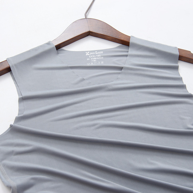 No trace Summer Cool Men Vest Cotton Tank Tops Underwear Mens Undershirt Transparent Shirts Male Bodyshaper Fitness sleeveless 5