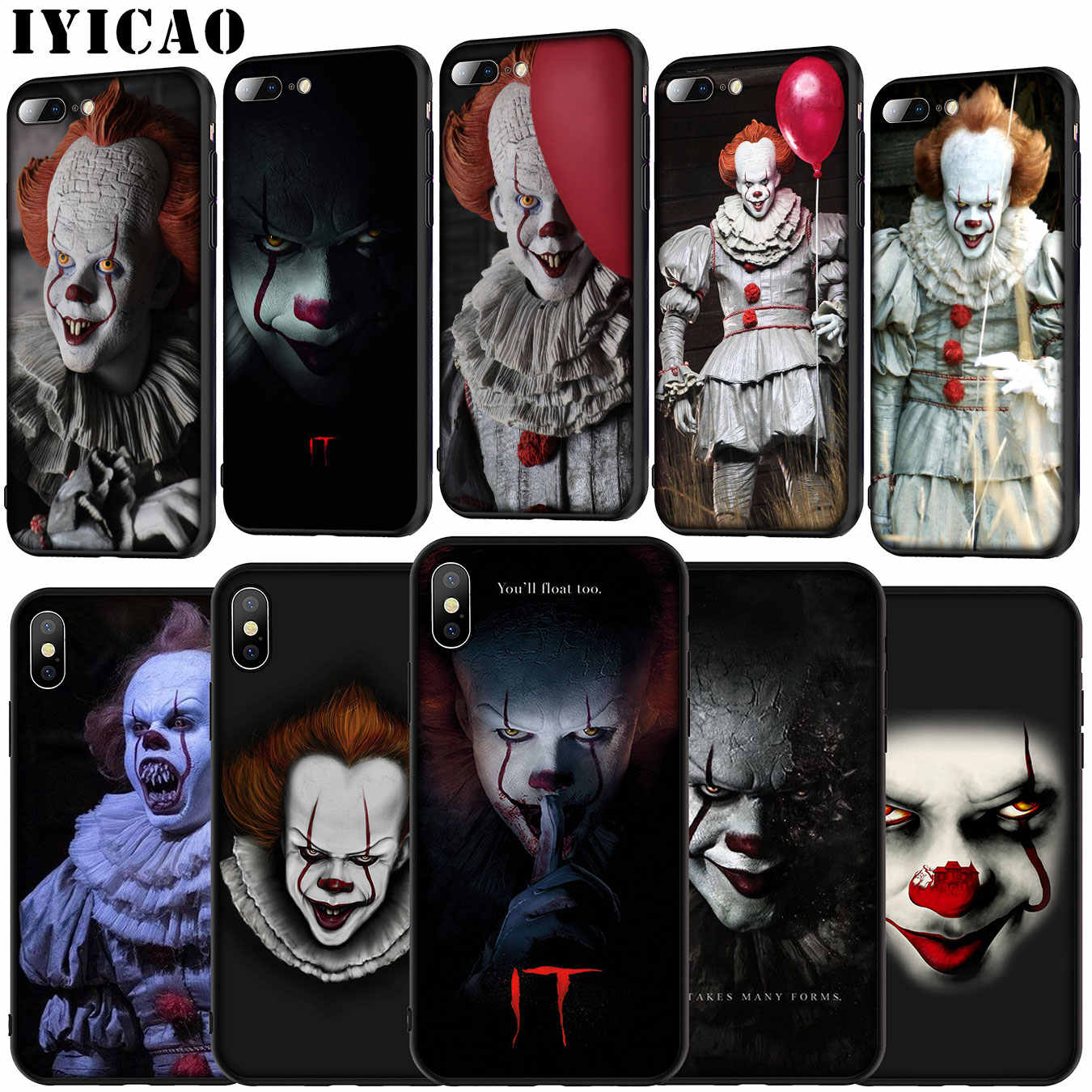 Iyicao De Film Het Pennywise Soft Silicone Cover Case Voor Iphone 11 Pro Xr X Xs Max 6 6S 7 8 Plus 5 5S Se Zwart Tpu Telefoon Case