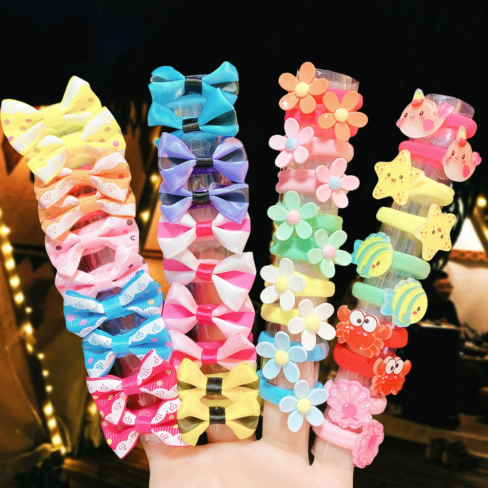 Lazos de goma con flores para niña, bandanas para el pelo, accesorios para el cabello, 10 Uds.