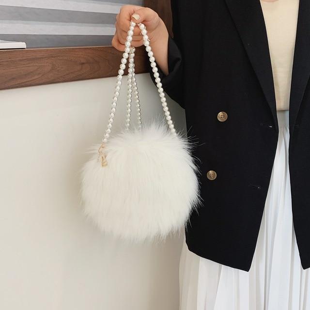 White shoulder bag fashion faux fur handbag soft and comfortable suede handbag round autumn and winter hot mini pearl chain bag 5