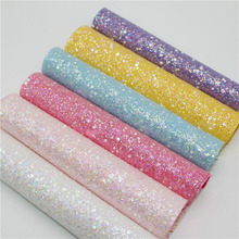 20x22cm Glitter Fabric Solid Color Synthetic  Leather Fabric For Home Textile Shoes Sewing Patchwork DIY Hair Bow Accessories 6pcs 20x22cm shinny glitter fabric diy sewing patchwork faux leather upholstery fabric hnadicarft diy bow accessories material