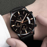 Hot Sale Relogio Masculino Watches Men Fashion Sport Stainless Steel Case Leather Watch Quartz Business Wristwatch Dropshipping