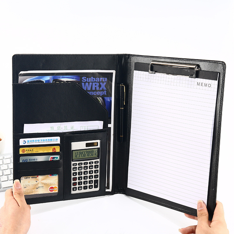 Multifunction PU Leather A4 File Folder Calculator Desk Organizer Office Accessories Manager Document Pad Briefcase Padfolio Bag