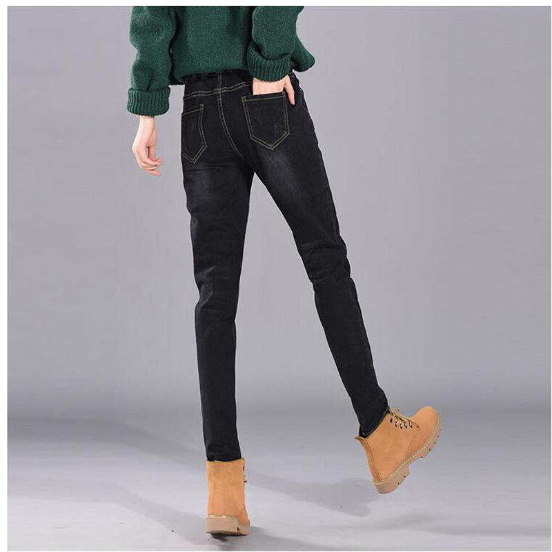 Зимние джинсы женские офисные тонкие с высокой редиской свободные 2019 женские джинсы низ - 4