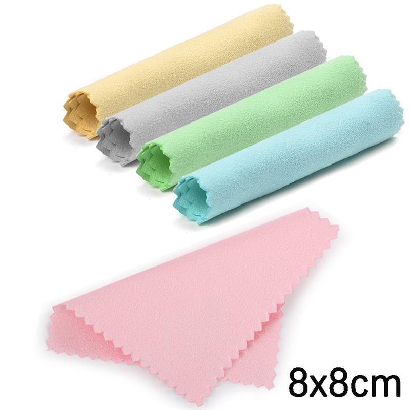 10pcs 8x8cm Jewelry Cleaning Polishing Cloth Buckskin Velvet Sterling Silver Gold Platinum Anti Tarnished Cleaning Rub