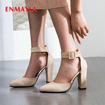 ENMAYLA Buckle Strap Classics Women Sandals Cover Heel Sewing Luxury Shoes Women Designers Basic Flock Wedding Shoes Woman 34-43