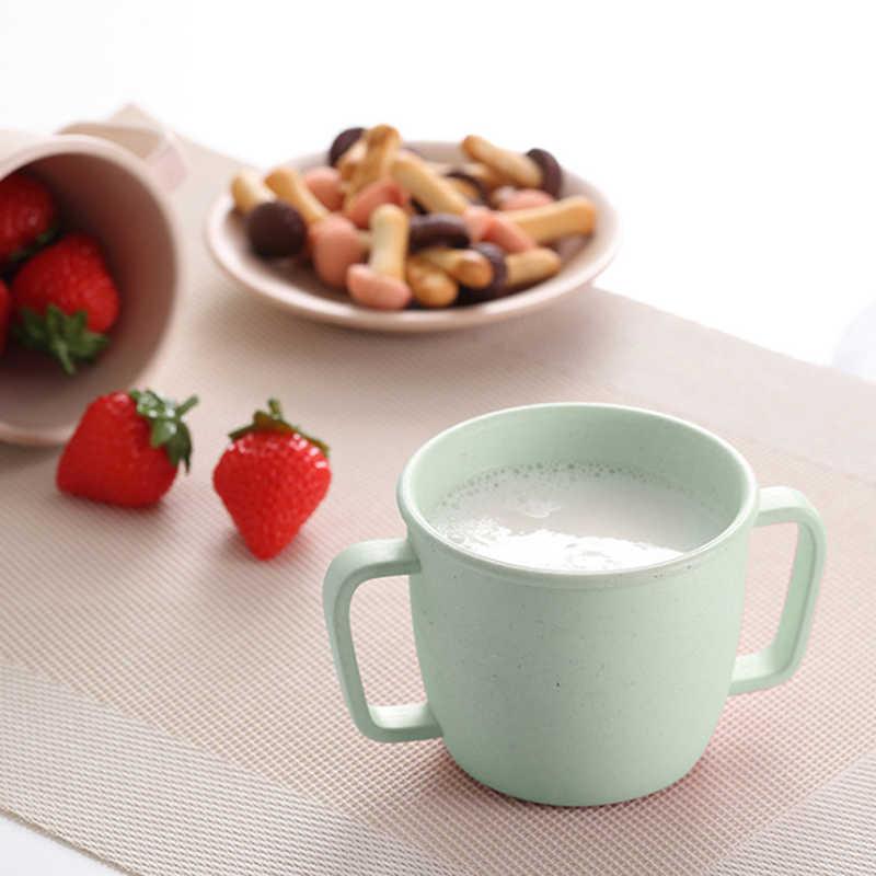 Taza de agua ambiental para niños taza de leche de doble mango de fibra de bambú suministros de alimentación para bebés