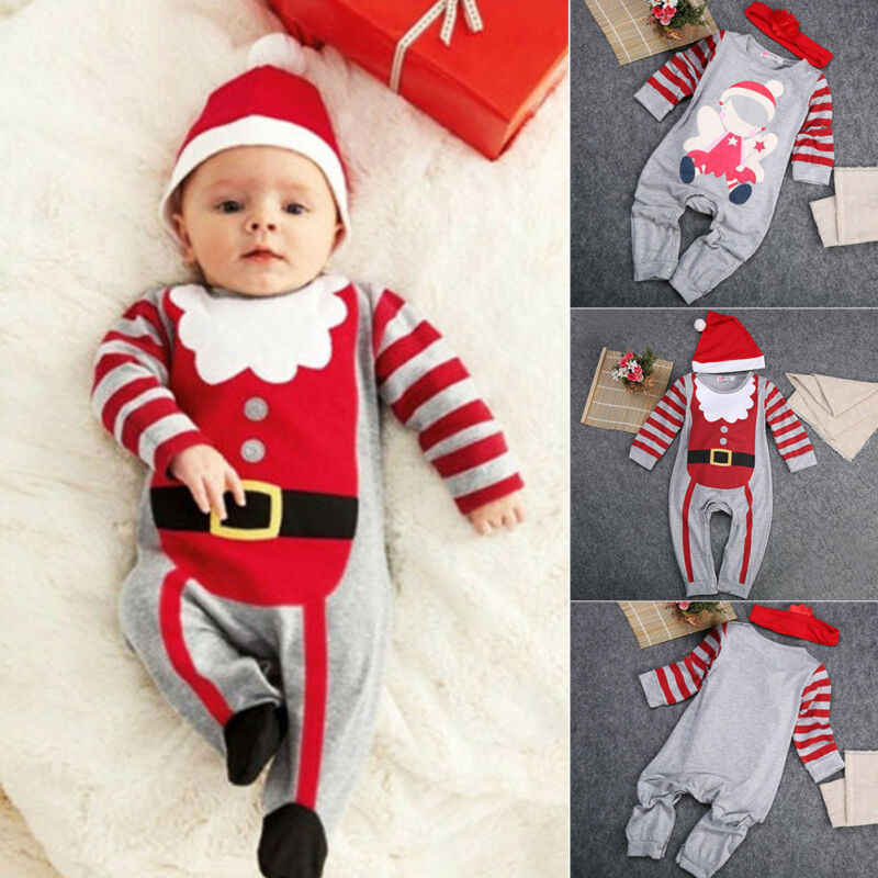 Toddler Baby Boy Christmas Hooded Santa Striped Jumpsuit Romper Outfit Clothes W