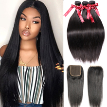 Hair-Extensions Closure Human-Hair Straight-Bundles Remy Nature-Color Brazilian Long