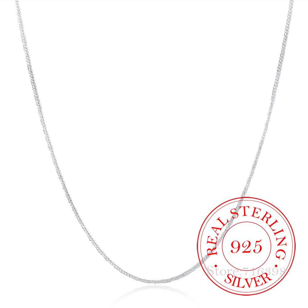 Necklace Women Jewelry Collares Side-Chain 925-Sterling-Silver Thin Girls Real 2mm 16-30inch