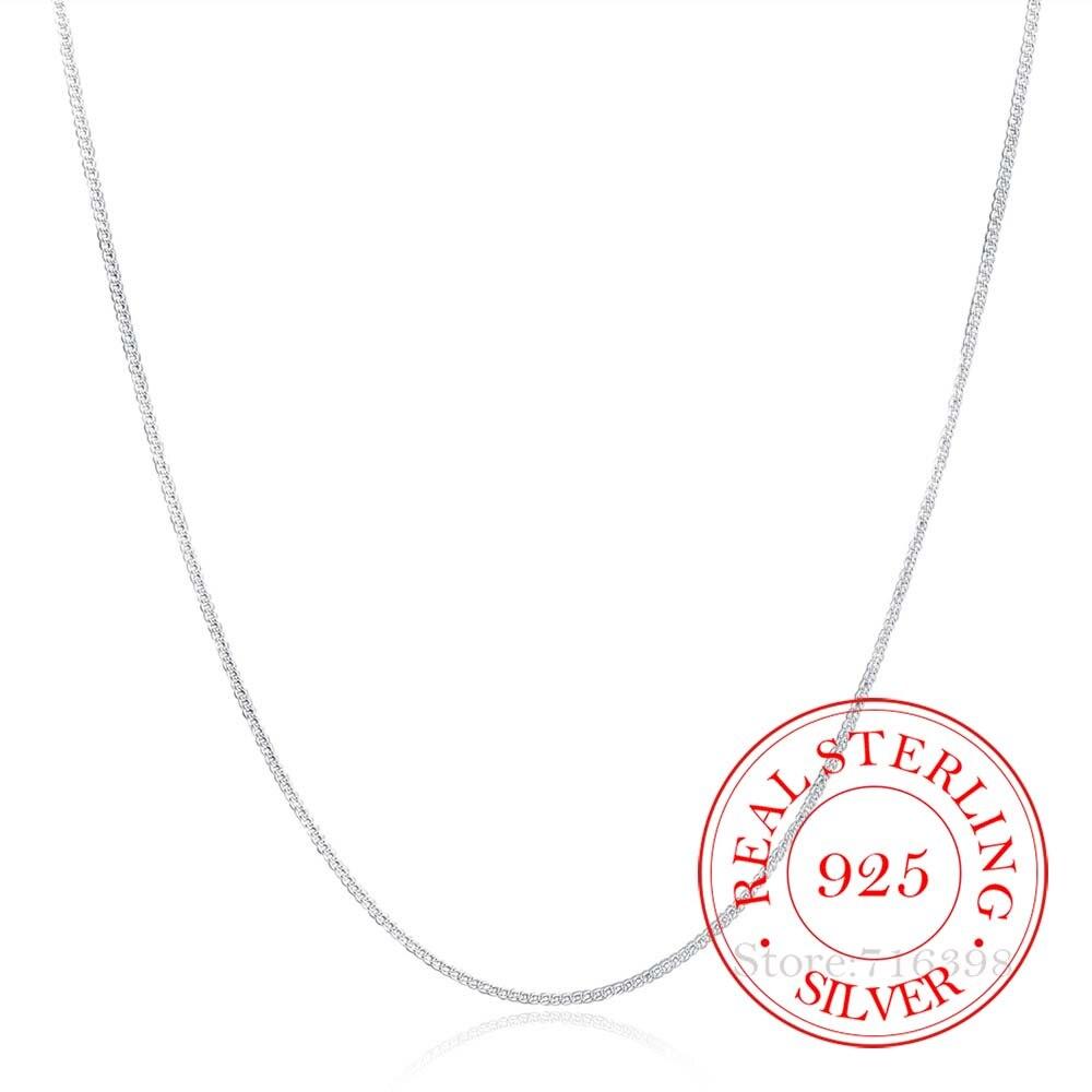 Женское тонкое ожерелье с боковой цепочкой, 2 мм, из настоящего серебра 925 пробы, Размер 40 75 см, 16 30 дюймов Ожерелья      АлиЭкспресс