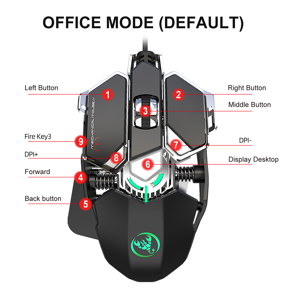 Image 3 - RGB игровая мышь 6400 DPI высокоточная Проводная USB компьютерная мышь Mause геймер 9 клавиш программируемые макросы определение игровой мыши мышьМыши    АлиЭкспресс