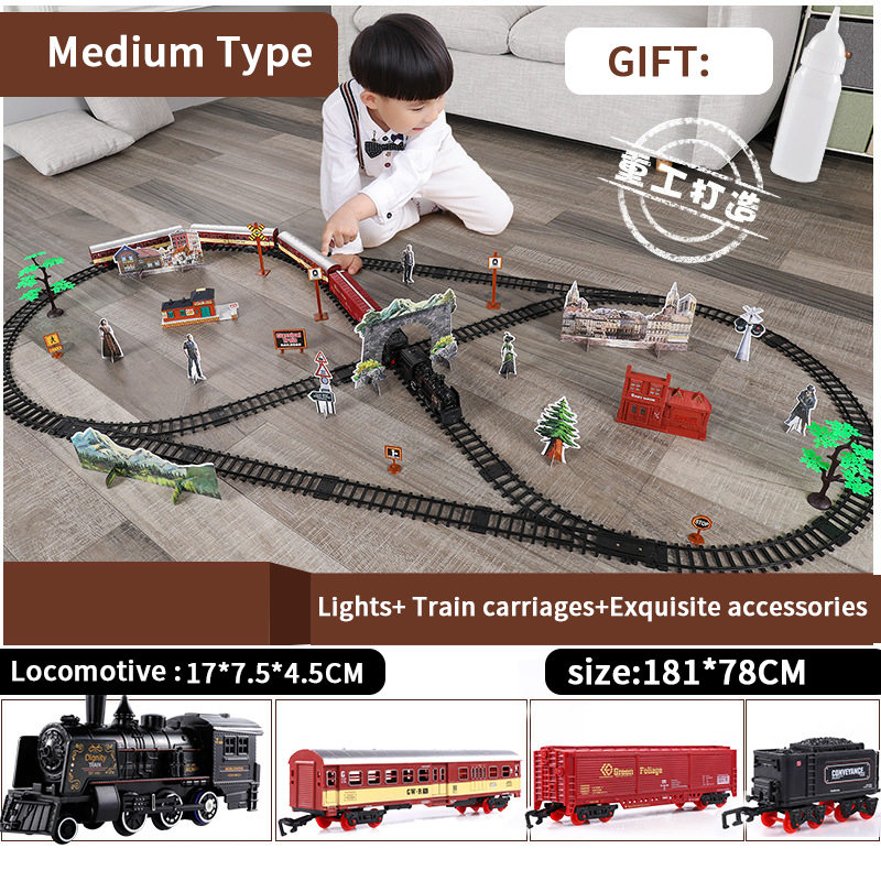 Classic Electric Train Toy Vihcle Railway Motorized Train DIY Track Railway Set Dynamic Steam RC Trains Electrique Toy For Kids