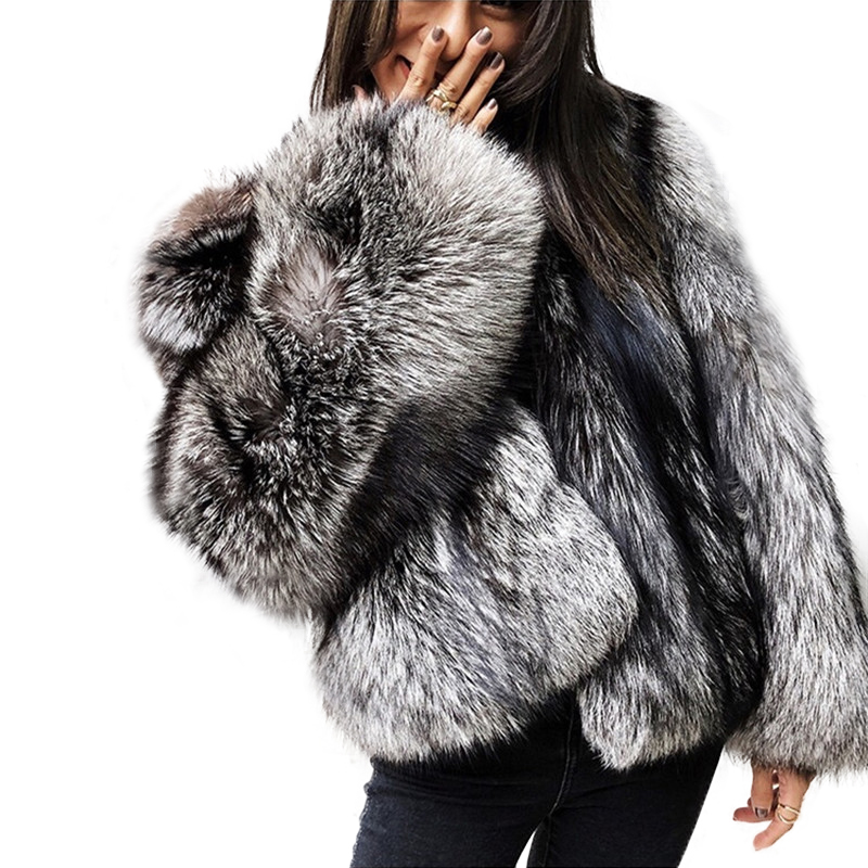New Brand Winter True Natural Fox Fur Coat Stand Collar Thick Whole Skin Silver Fox Fur Women's Jacket