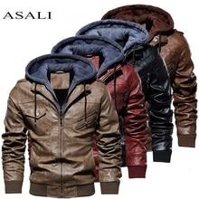 Мужская кожаная куртка с капюшоном мотоциклетная кожаная PU бейсбольная куртка в байкерском стиле осенне-зимняя верхняя одежда ветровка мужские Куртки из искусственной кожи
