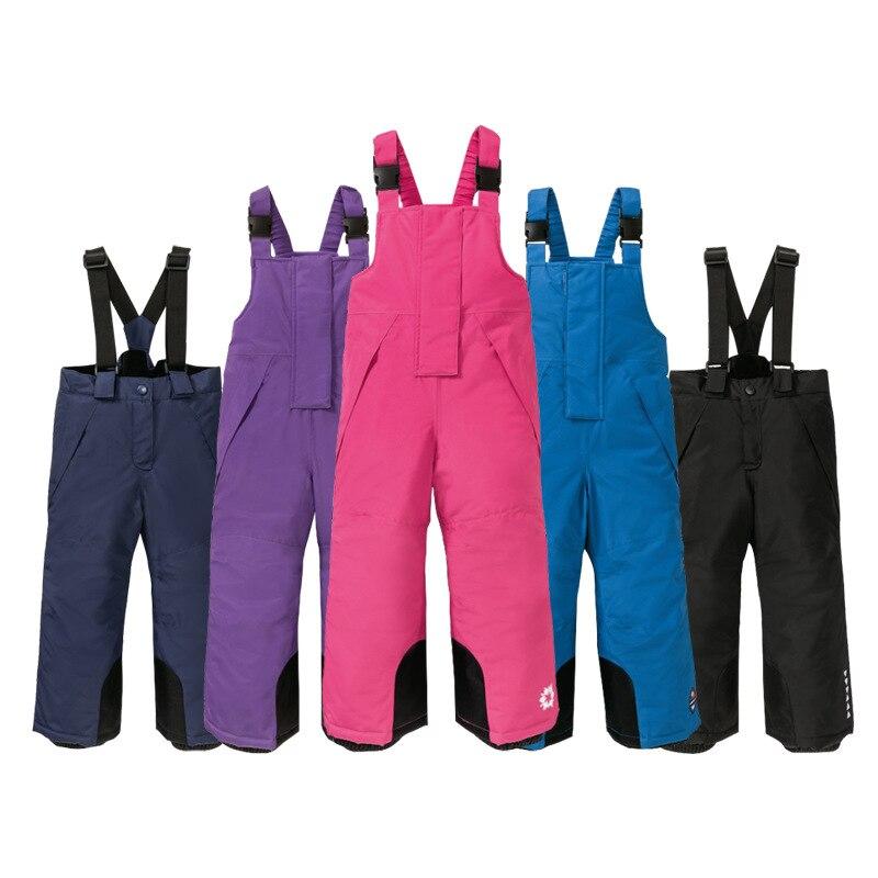 2020 Winter Baby Boy Skiing Pants Fleece Windproof Kids Girls Jumpsuit Thick Children Snow Overalls Waterproof Sport Trousers