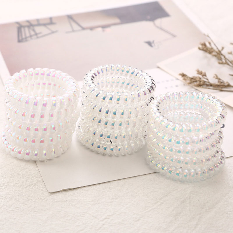 1pc Shining Women Scrunchies Solid Color Telephone Wire Line Hair Rubber Bands Elastic Hair Ring Rope For Girls Hair Accessories