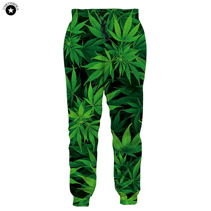 2019 Autumn New Fashion 3D Joggers Pants Harajuku Style Green Weed Print Mens Womens Sweatpant Casual Pant Long Trousers Men
