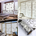 Frosted Opaque Glass Window Self-Adhesive Film Privacy Stickers Home Decor Black&white Wrought Iron Flower Decorative