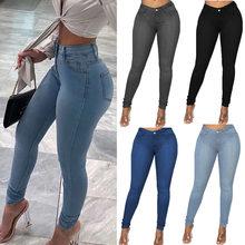 Mulher cintura alta denim jeans calças de lápis magras plus tamanho XS-6XL