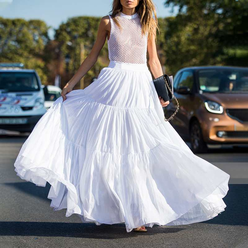 2020 VONDA Plus Size Women Summer Skirts Ladies Casual High Waist Solid Color Big Swing Ruffle Maxi Skirts Elegant Long Skirt