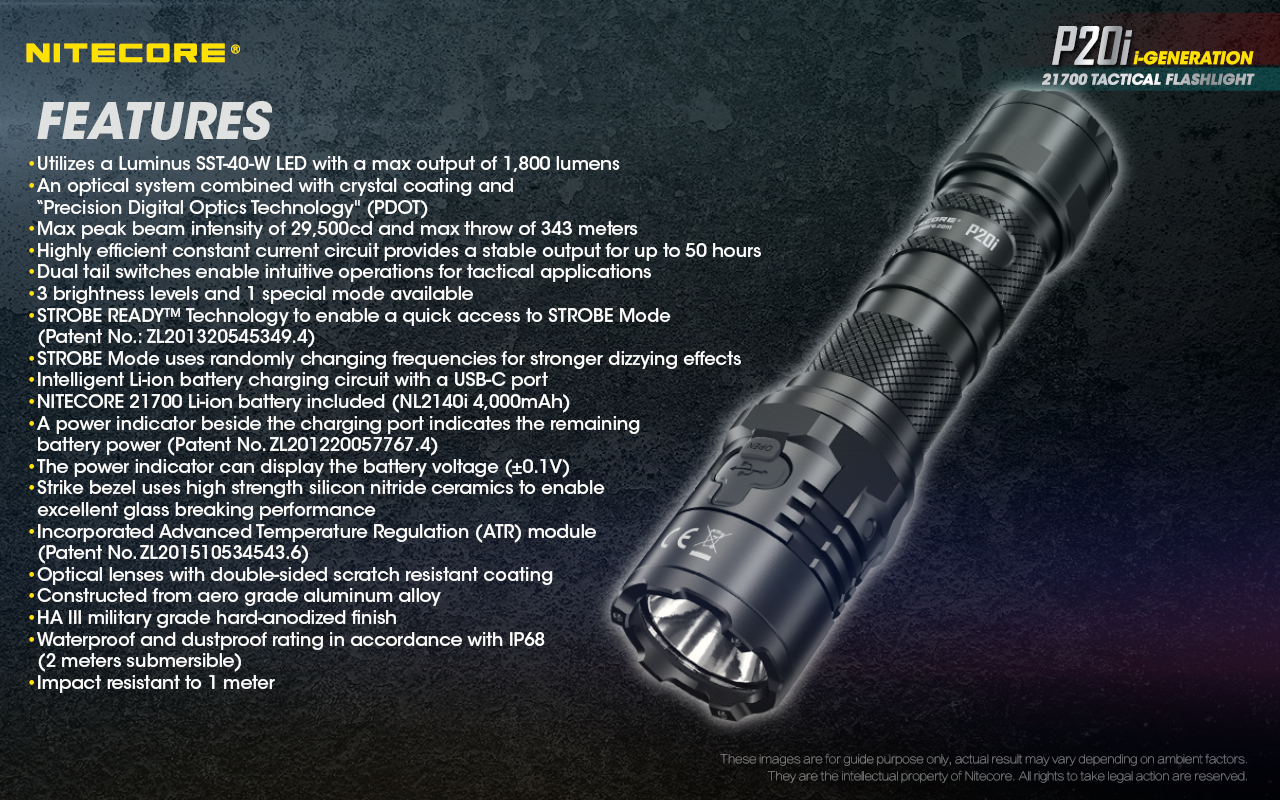 Nitecore original p20i lanterna tática usb recarregável