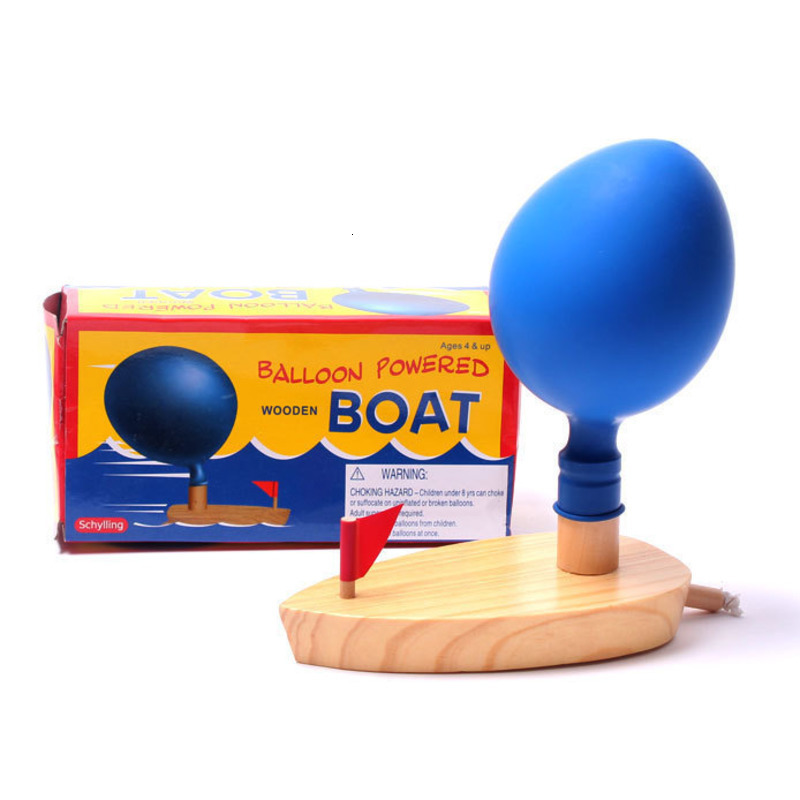 Wooden Balloon Bath Toys Air Powered Boat Science Experiment Learning Classic Educational Early Development Toys For Children