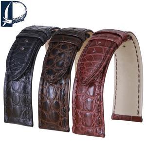 Ремешок для часов Pesno из кожи аллигатора, черный, коричневый, темно-коричневый, 16, 18, 19, 20, 21, 22, 24 мм