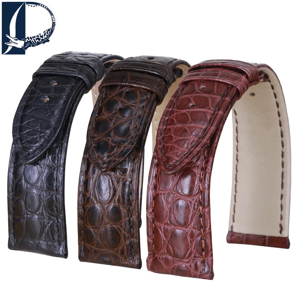 Pesno Superior Alligator Leather Watchband Black Brown Dark Brown Watchstrap 16mm 18mm 19mm 20mm 21mm 22mm 24mm With Round Grain