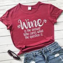 Vino es la respuesta vino amante de las mujeres de moda de algodón puro eslogan cita gráfico bar divertido hipster camiseta chica regalo tees cute top L550