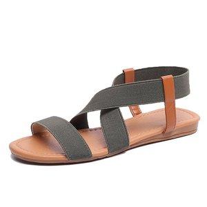 Image 3 - סנדלים שטוחים נשים נעלי גלדיאטור בוהן פתוח אלסטי שטוח סנדלי נקבה מקרית נשים של שטוח פלטפורמת חוף נעליים