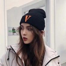 Fashion Skullies Beanies Letter V Embroidery Women Hat Winter Unisex Casual Beanie Cap Men Hip Hop Knitted Female