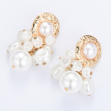 Vintage Big Simulated Pearl Earring For Women Punk Geometric Gold Round Drop Dangle Earrings Za Statement Jewelry(China)