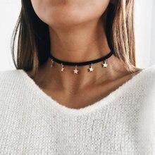 Корейская мода простое ожерелье из искусственной замши пятиконечная