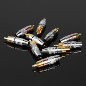 Image 1 - 10pcs RCA הלחמה מחבר אודיו וידאו תקע DIY RCA רמקול מתאם תקע דיגיטלי חוט אבזרים